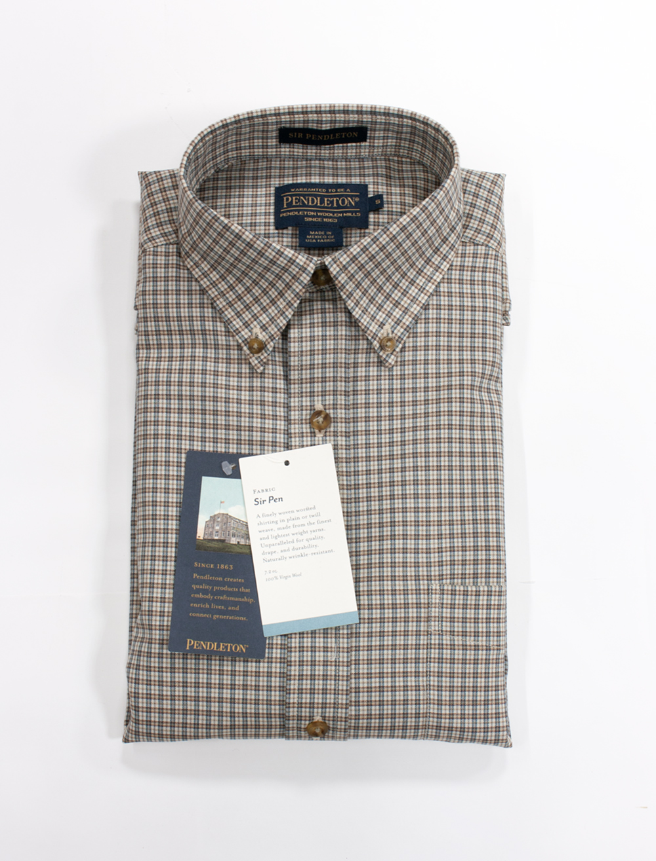 サーペンドルトンシャツ クリームターコイズスモールプレイド