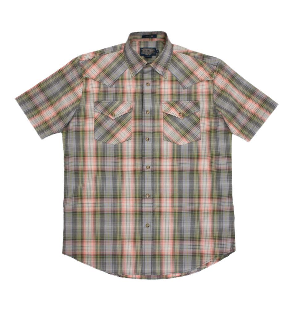 ペンドルトンフロンティアシャツセージコーラルプレイド