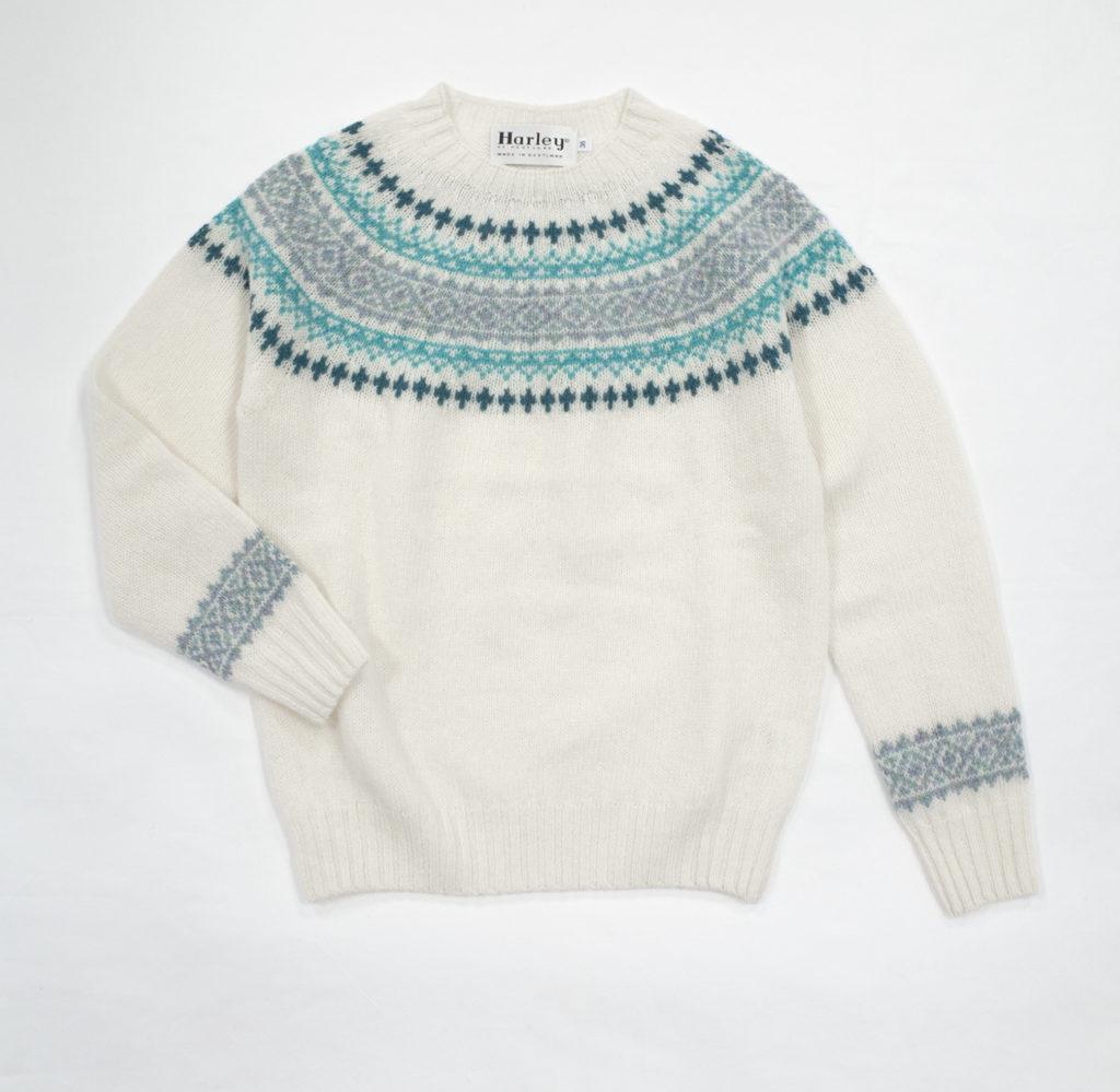 ハーレーオブスコットランドノルディックセーターウインターホワイト